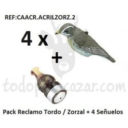 Pack Reclamo Tordo / Zorzal + 4 Señuelos