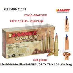 Munición Metálica BARNES VOR-TX TTSX 300 Win. Mag. - Pack 2 ud