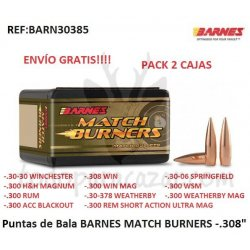 "Puntas de Bala BARNES MATCH BURNERS .308"" - Pack 2ud"