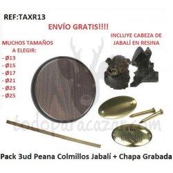 Pack 3ud Peanas Colmillos Jabalí + Chapas Grabadas