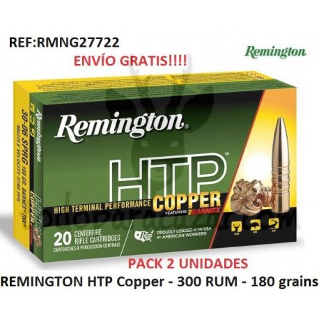 2 ud. Munición Metálica REMINGTON HTP Copper 300 RUM 180 grains