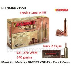 Munición BARNES VOR-TX TSX - 270 WSM - Pack 2 Cajas