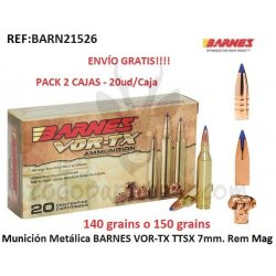 Munición Metálica BARNES VOR-TX TTSX 7mm. Rem Mag