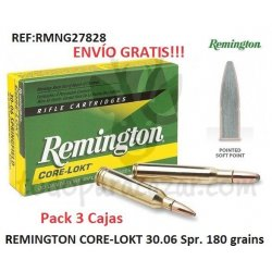 Pack 3 ud - Munición Metálica REMINGTON CORE-LOKT 30.06 Spr