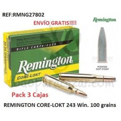REMINGTON CORE-LOKT 243 Win - Pack 3 Cajas