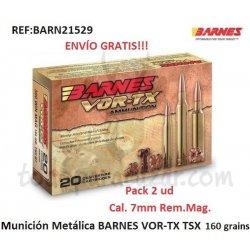 Munición Metálica BARNES VOR-TX TSX 7mm Rem Mag - Pack 2 Cajas