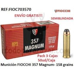 Munición FIOCCHI 357 Magnum - 158 grains - Pack 3 Cajas
