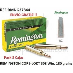 Pack 3 ud - Munición metálica REMINGTON CORE-LOKT 308 Win. 180 grains