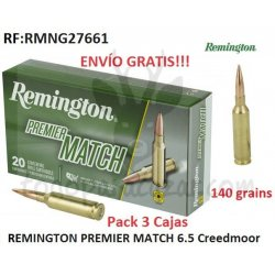 Pack 3 ud - Munición Metálica REMINGTON PREMIER MATCH - 6.5 Creedmoor