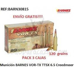 Pack 3 ud - Munición Metálica BARNES - VOR-TX TTSX - 6.5 Creedmoor