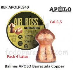Pack 4 Latas - Balines APOLO Barracuda Copper Cal.5,5