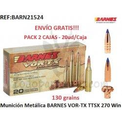Munición Metálica BARNES VOR-TX TTSX 270 Win - Pack 2 ud